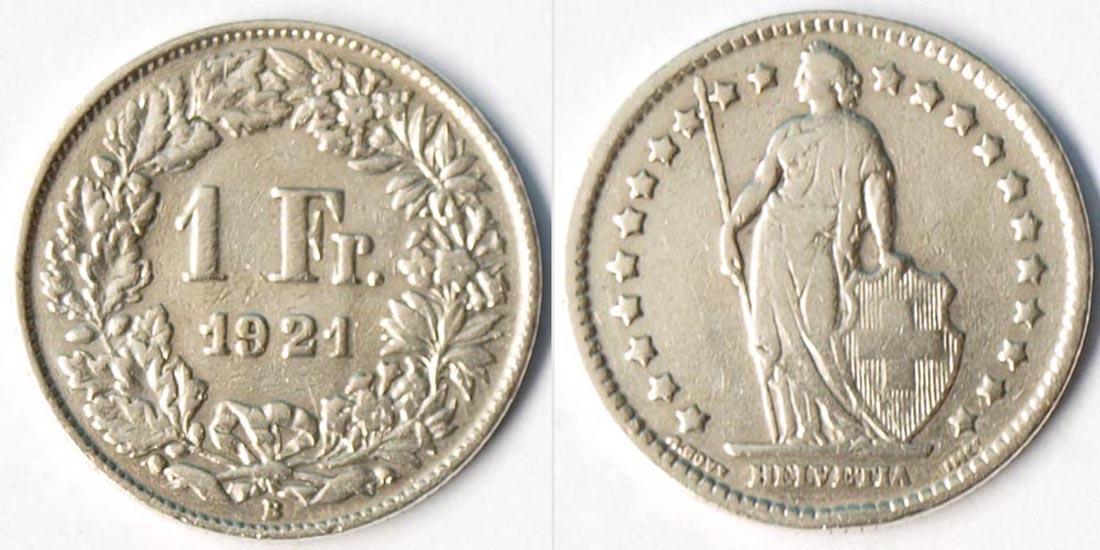 Schweiz Switzerland 1 Franken Silber Münze 1921 R1314 Coinstampsde